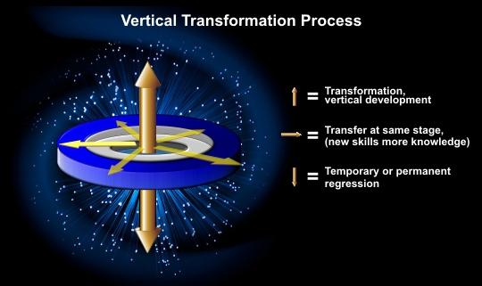 Vertical transformation process. Transformation verticle development, transfer at same stage, temporary or permanent regression